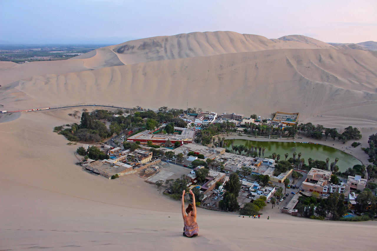 Lyndsay going down Huacachina Sand Dune