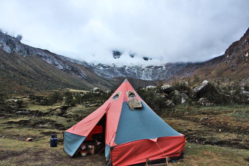 Tent by glacier
