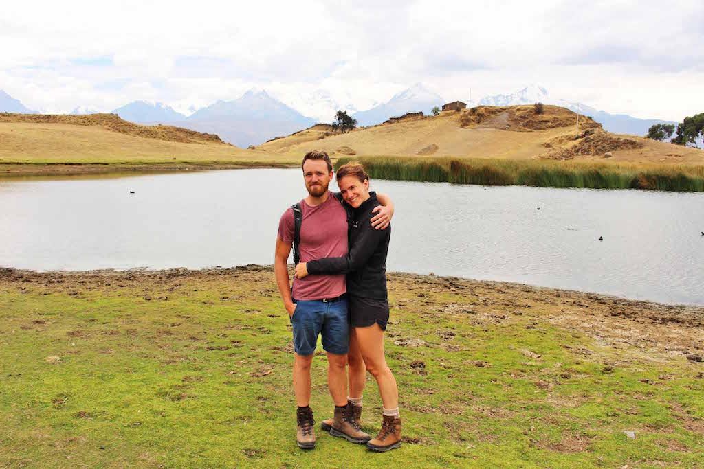 lynds and jake at lake, huaraz