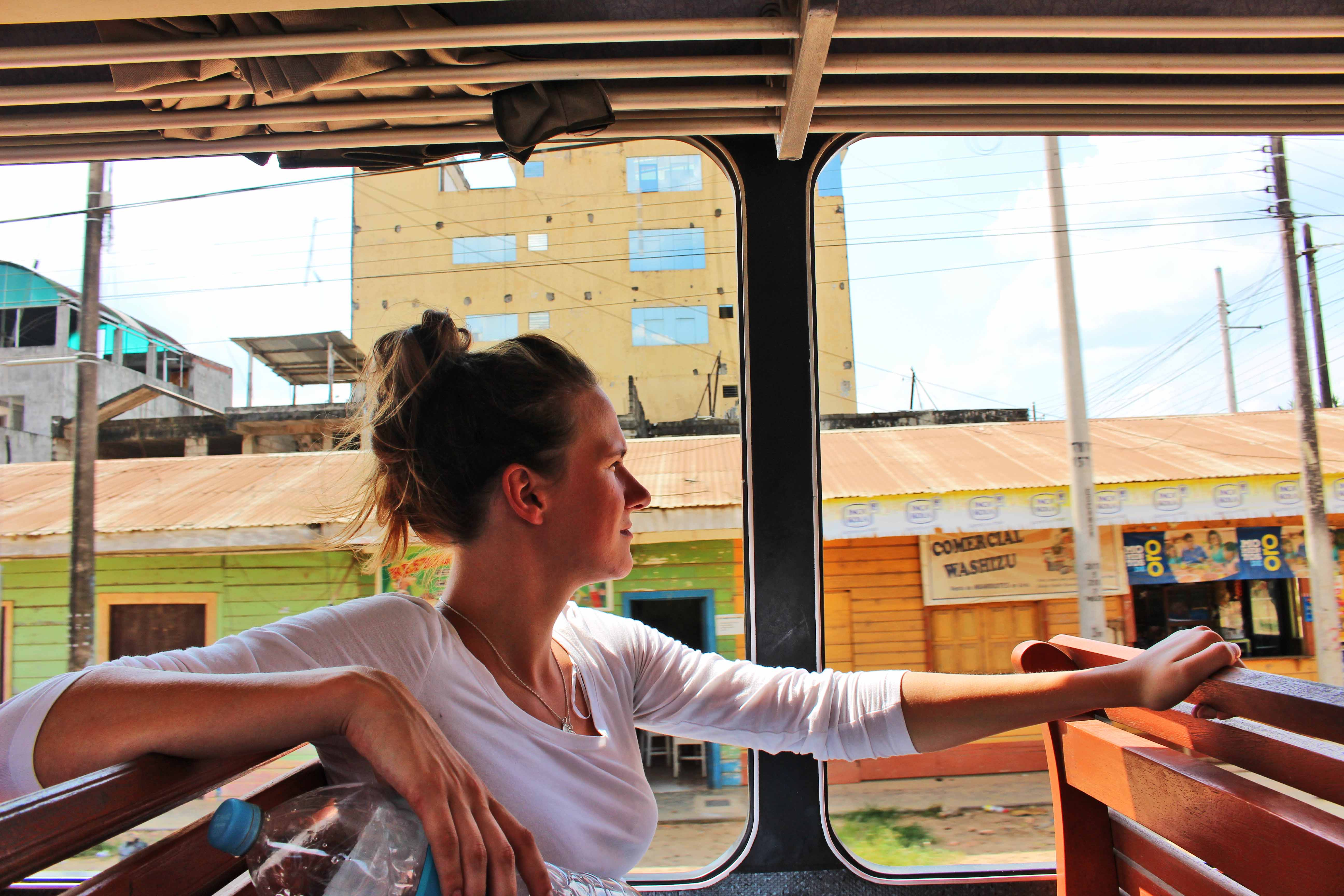 lyndsay on Bus Puerto Maldanado