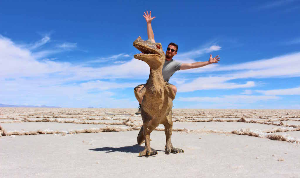 Jake on Dino, Bolivian Salt Flats